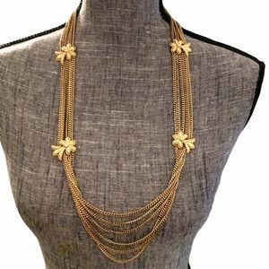 Vintage Monet Multi-Strand Necklace Statement Gold